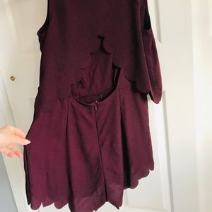 H&M maroon scalloped open back romper